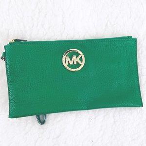 Michael Kors Fulton Leather Palm Green Clutch